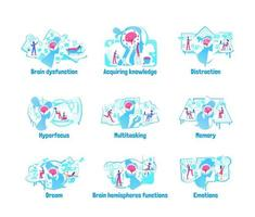 Mindset processes flat concept vector illustration set