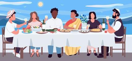 Multicultural dinner flat color vector illustration