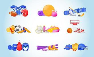 Sports equipment flat color vector objects set