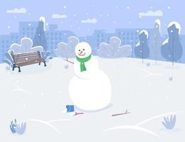 muñeco de nieve en el parque urbano semi plano ilustración vectorial vector