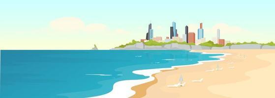 Sandy urban beach flat color vector illustration
