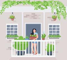 Balcony garden flat color vector illustration