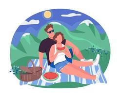 Romantic picnic 2D vector web banner, poster