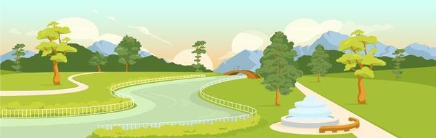National park flat color vector illustration