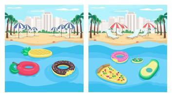 Seaside resort and inflatables flat color vector illustration set