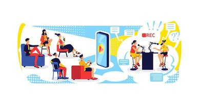 Video streaming with smartphone flat concept vector illustration