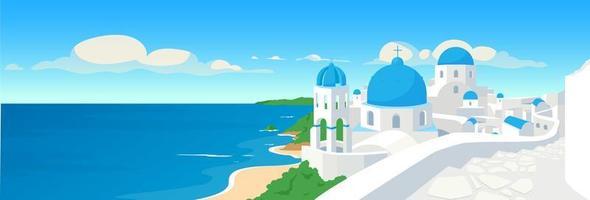 Greek coastal town flat color vector illustration