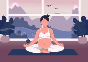 Pregnant woman meditate flat color vector illustration