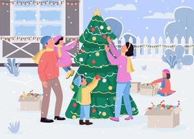 Family decorate xmas tree flat color vector illustration