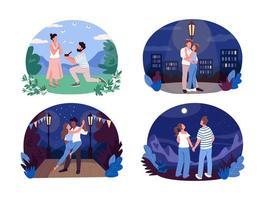 recreación de verano romántico banner web de vector 2d, conjunto de carteles