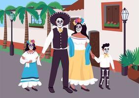 familia mexicana en la ilustración de vector de color plano de carnaval
