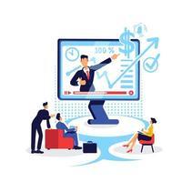 Ilustración de vector de concepto plano en línea de coaching de marketing