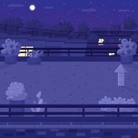 Nighttime rooftop flat color vector illustration