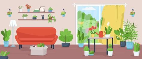 Apartment with plants flat color vector illustration