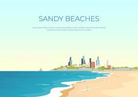 Plantilla de vector plano de banner de playa de arena