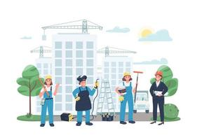 Construction site female workers flat color vector illustration
