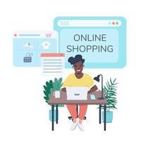 Woman buying clothes on Internet social media post mockup vector