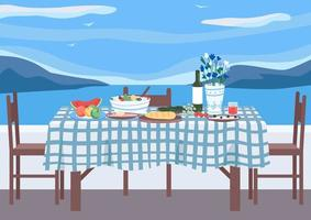 Greek banquet flat color vector illustration