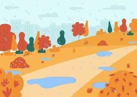 Autumn rain in park semi flat vector illustration