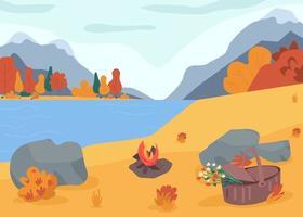 Autumn nature flat color vector illustration