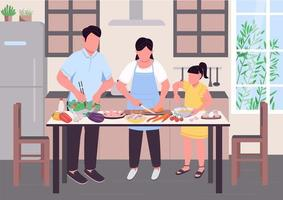 Family cooking together flat color vector illustration