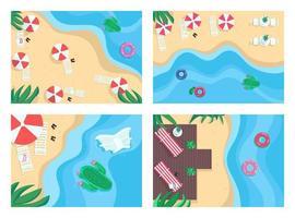 Sandy beaches flat color vector illustration set