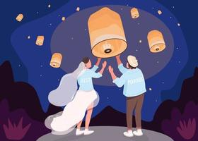 Romantic celebration with lanterns flat color vector illustration