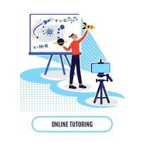 Online academic learning flat concept vector illustration