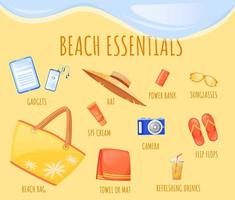 Beach essentials flat color vector informational infographic template