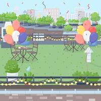 Rooftop party flat color vector illustration