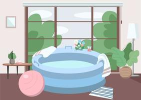 Inflatable tub at home flat color vector illustration