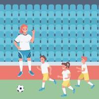 Woman football coach flat color vector illustration