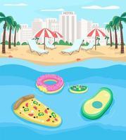 Tourist beach flat color vector illustration
