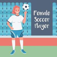 Woman footballer social media post vector