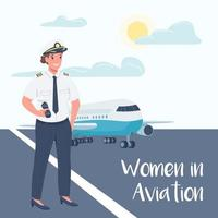 Female airplane pilot social media post mockup vector