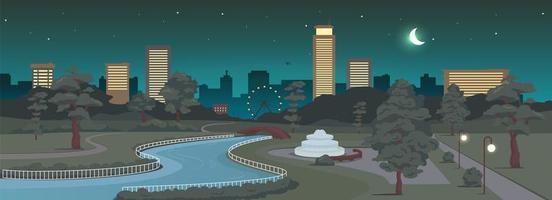 parque urbano en la ilustración de vector de color plano de noche