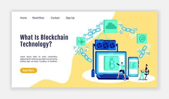 Blockchain technology landing page flat color vector template