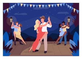 People dance on stage flat color vector illustration
