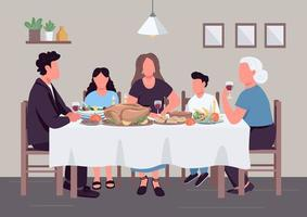 Caucasian family dinner flat color vector illustration