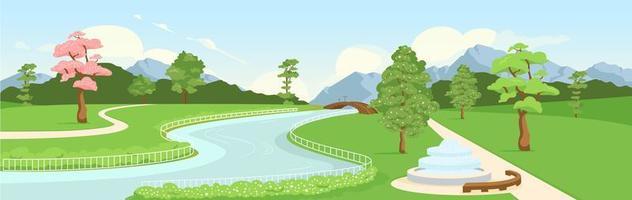 Ilustración de vector de color plano de jardín botánico