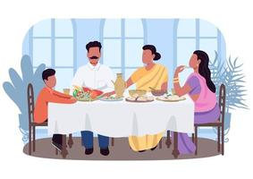 Indian traditional dinner 2D vector web banner, poster