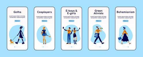 Alternative lifestyle onboarding mobile app screen flat vector template