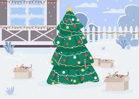 Christmas eve flat color vector illustration