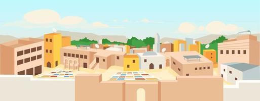 Ancient arab city flat color vector illustration