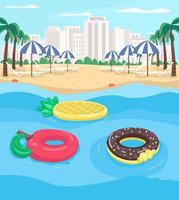 Seaside resort and pool floats flat color vector illustration
