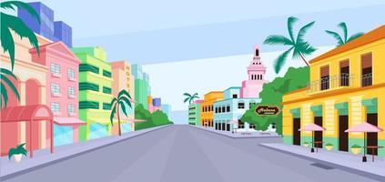 Ilustración de vector de color plano de la vida de la ciudad de Cuba