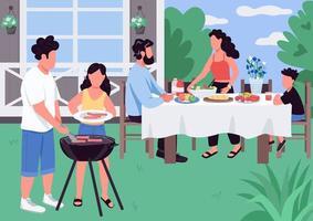 Barbeque flat color vector illustration