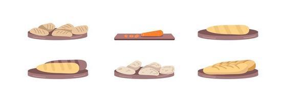Vegan bakery flat color vector object set