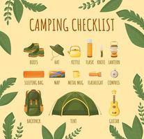 plantilla de infografía informativa de vector de color plano de lista de verificación de camping