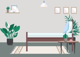 Bedroom flat color vector illustration